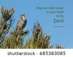Small photo of Savannah Sparrow Singing with a bible verse
