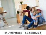 young married couple with boxes ... | Shutterstock . vector #685388215