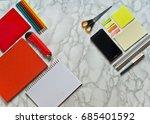 flatlay of office stuff on... | Shutterstock . vector #685401592