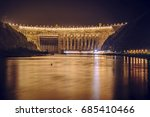 night view of hydro electric... | Shutterstock . vector #685410466