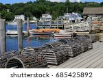 lobster traps on dock at mystic ... | Shutterstock . vector #685425892