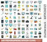 100 programming review icons... | Shutterstock .eps vector #685426015
