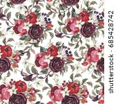 watercolor floral pattern on... | Shutterstock . vector #685428742