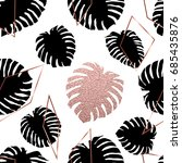 rose gold tropical leaves and... | Shutterstock .eps vector #685435876