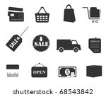 shopping icon set in gray