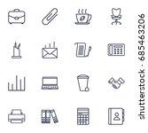 set of 16 bureau outline icons... | Shutterstock .eps vector #685463206