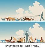 Stock vector two colorful foreground silhouettes of a man walking many dogs 68547067
