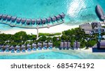 aerial view of water bungalows...   Shutterstock . vector #685474192