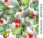 tropical floral leaves pattern. ... | Shutterstock . vector #685476616