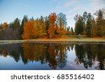 Autumn Park Around A Pond....