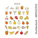 different meal thin line color... | Shutterstock .eps vector #685522552