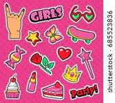 girls trendy doodle with... | Shutterstock .eps vector #685523836