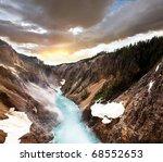 Canyon in Yellowstone - stock photo