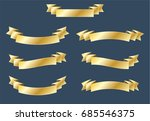 set of gold ribbon banner with... | Shutterstock .eps vector #685546375