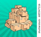 boxes with goods pop art retro... | Shutterstock .eps vector #685547116