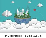 eco friendly on blue sky.save... | Shutterstock .eps vector #685561675