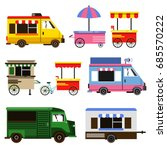 set of food trucks and bicycles ... | Shutterstock . vector #685570222
