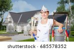 woman as painter at house... | Shutterstock . vector #685578352
