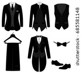 wedding men's suit with shoes ... | Shutterstock .eps vector #685581148
