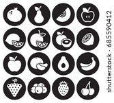 fruit icons set. white on a... | Shutterstock .eps vector #685590412