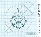 vector blueprint retro robot... | Shutterstock .eps vector #685592692