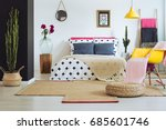 inspiring bedroom with unique... | Shutterstock . vector #685601746