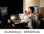 a lighting engineer works with... | Shutterstock . vector #685605166