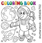 coloring book astronaut theme 1 ... | Shutterstock .eps vector #685606702