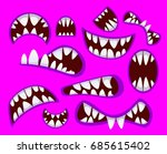 set of crazy monsters mouth in... | Shutterstock .eps vector #685615402
