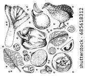 hand drawn set of farm... | Shutterstock . vector #685618312
