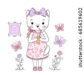 Cute Cat Girl. Little Kitty...
