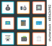 flat icons billfold  accounting ... | Shutterstock .eps vector #685626982