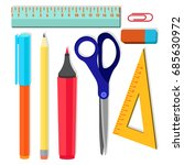 back to school. stationery set... | Shutterstock .eps vector #685630972