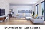 modern bright living room. 3d...   Shutterstock . vector #685635856