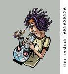 man smokes a bong | Shutterstock .eps vector #685638526