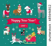 vector christmas set. dogs in... | Shutterstock .eps vector #685646812