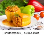 stuffed peppers with meat and... | Shutterstock . vector #685661005