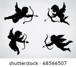 four cute valentine's angel... | Shutterstock .eps vector #68566507