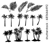 palm silhouette  vector ... | Shutterstock .eps vector #685666492