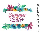 design banner with  summer sale ... | Shutterstock . vector #685670932