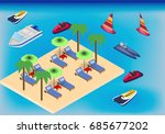 isometric beach and sea with... | Shutterstock .eps vector #685677202