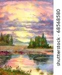 Watercolor Landscape. The Glow...