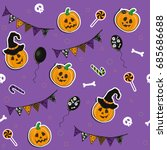 halloween seamless pattern with ... | Shutterstock .eps vector #685686688