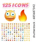 set of realistic cute icons on... | Shutterstock .eps vector #685687342