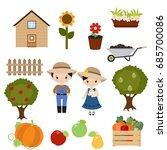 farmer girl and boy on white... | Shutterstock .eps vector #685700086