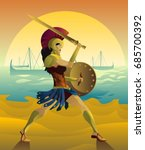 female spartan soldier with... | Shutterstock .eps vector #685700392