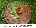 Wheatgrass Juice In A Clay Pot...
