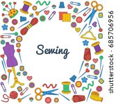 sewing doodle icons round... | Shutterstock .eps vector #685706956