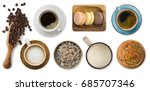 different cups of coffee and... | Shutterstock . vector #685707346