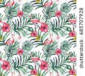 watercolor tropical seamless... | Shutterstock . vector #685707928